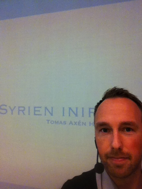 "Giving my lecture ""Syria from within"" at the Nacka Forum library, November 2014."
